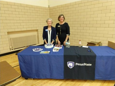 Melissa Grimm, Admissions Counselor, and Mary-Ellen Madigan, Enrollment Manager, representing for Penn State Erie, The Behrend College at the College and Career Fair at McDowell on Wednesday, Sept. 18.