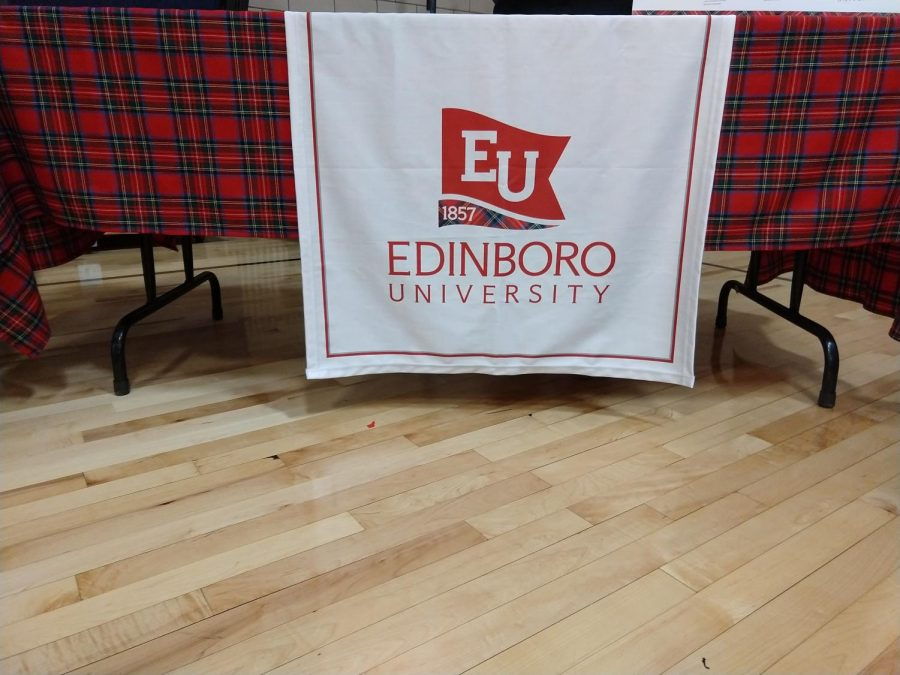 Edinboro University table at the College and Career Fair at McDowell on Wednesday, Sept. 18.