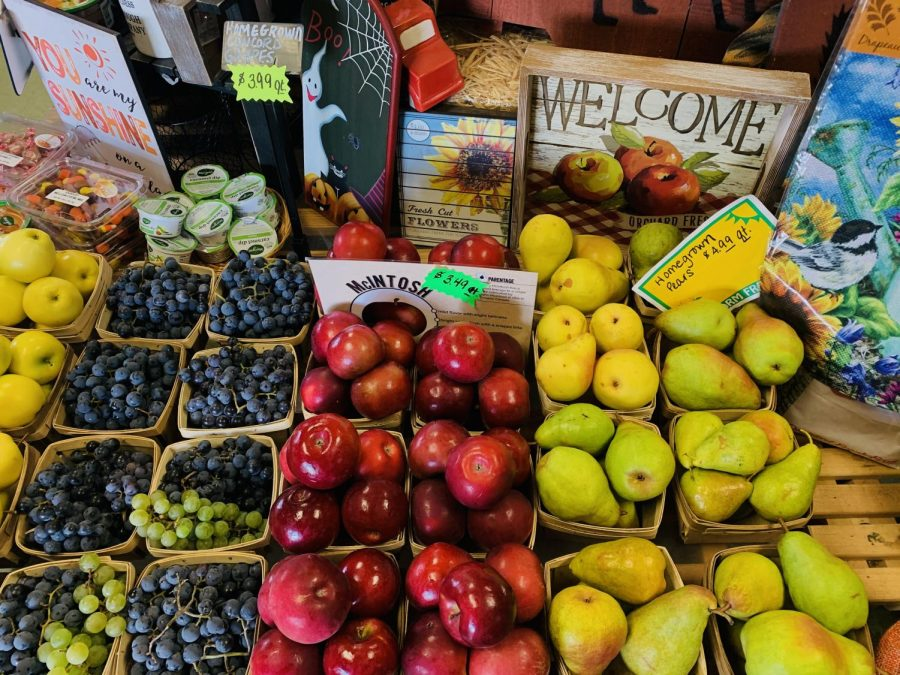 Franks Farm Market, (5880 Sterrettania Rd.)  There are blueberries, grapes, apples, and pears, as well as a variety of fall decor.